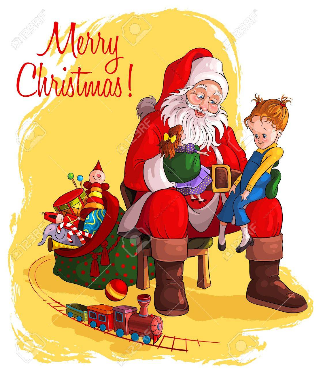 Santa Claus sitting in chair with sack of gift give Christmas gifts to children - 14982184