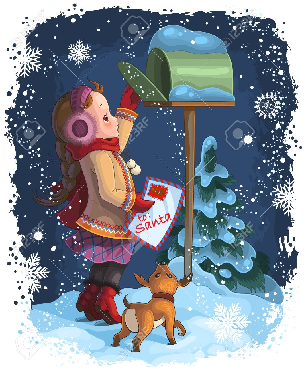 A little girl and her puppy posting a letter to Santa - 15167825