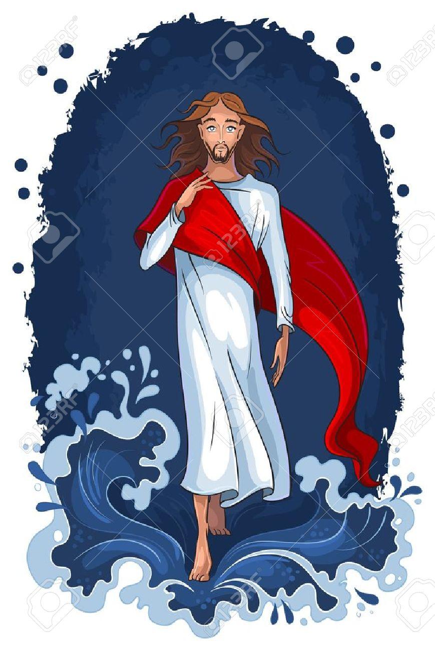 Jesus walking on water. Christian background - 15911098