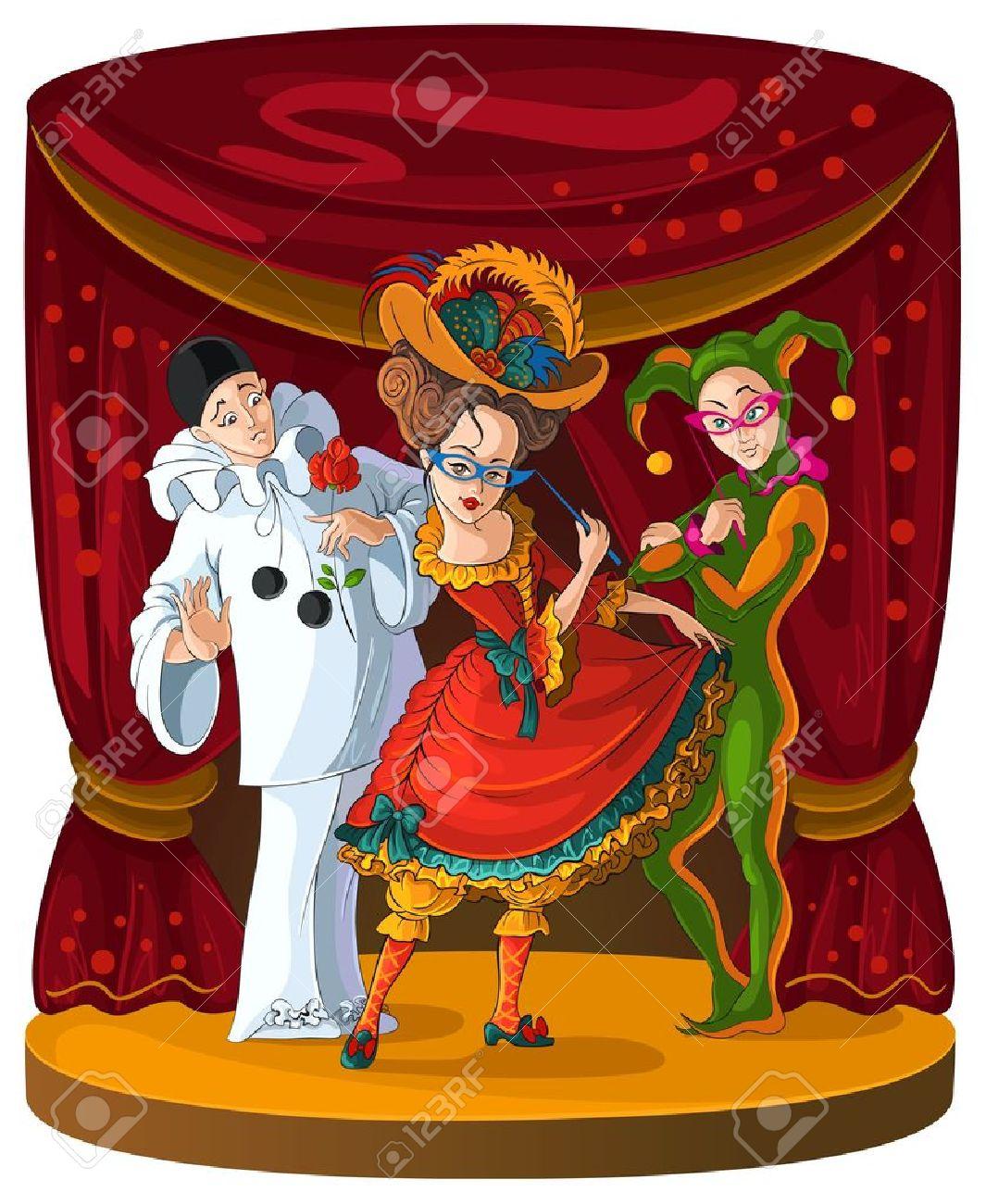 Colombine, Arlequin Et Pierrot - Comédien De Théâtre Caractères Clip ...