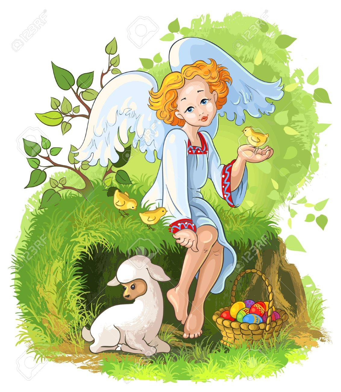 Cute angel girl with easter basket chickens and lamb royalty free cute angel girl with easter basket chickens and lamb stock vector 18412864 negle Image collections