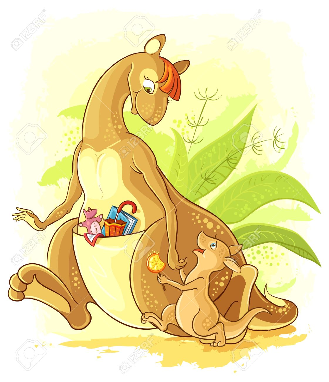 Cartoon Mother kangaroo with her baby walk hand in hand Stock Vector - 20387189