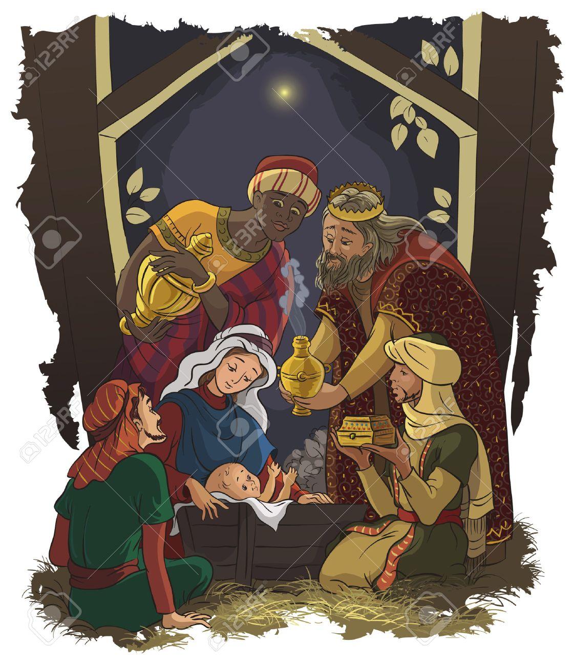 Krippe, Jesus, Maria, Josef Und Die Heiligen Drei Könige Lizenzfrei ...