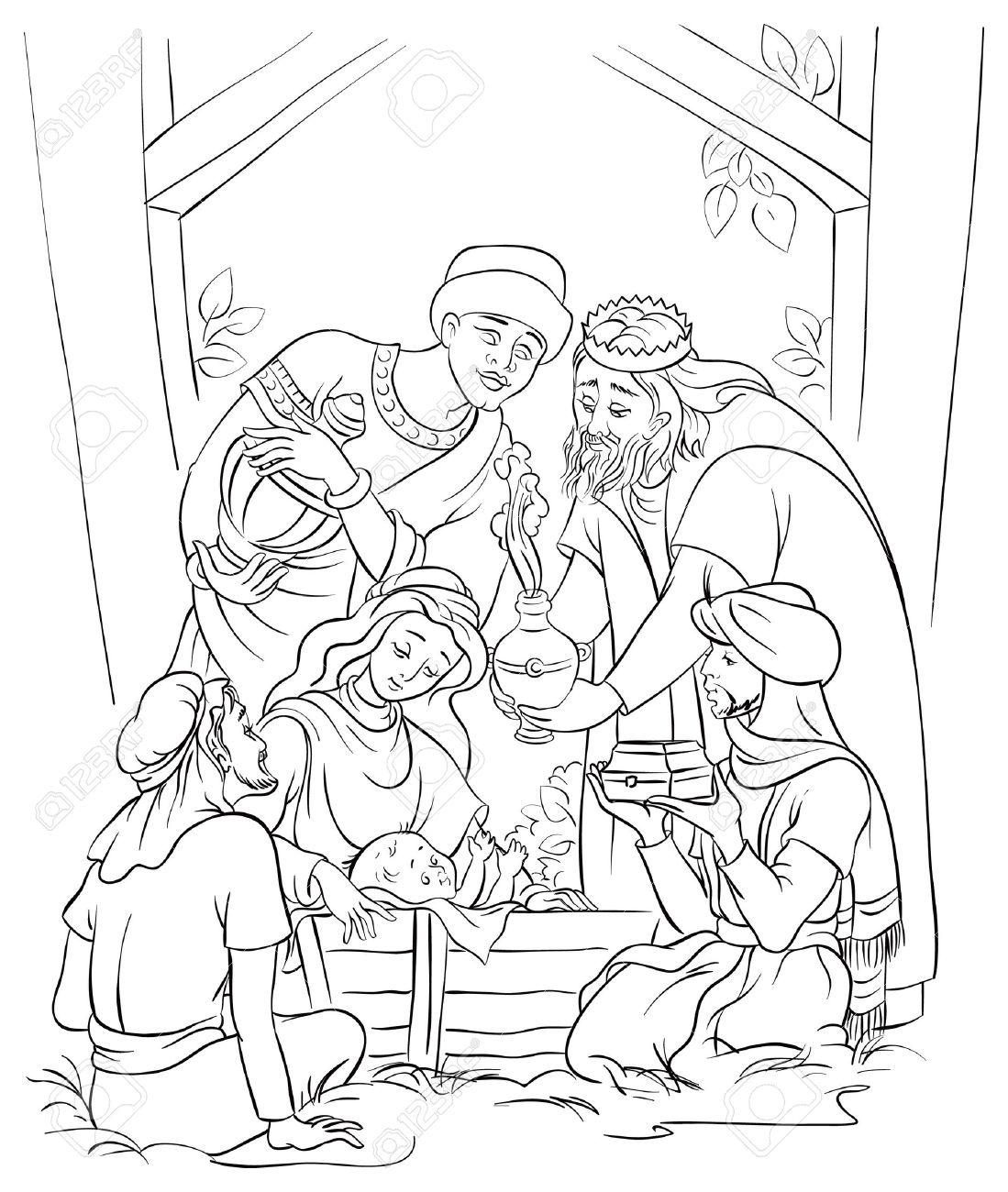 Jesus, Mary, Joseph and the Three Kings Coloring page - 23291390