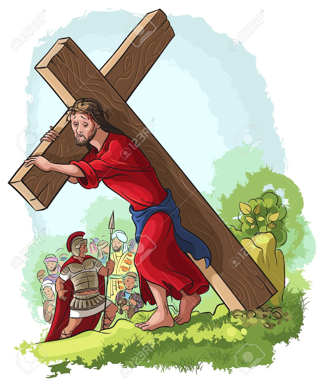 illustration of jesus christ carrying cross royalty free cliparts