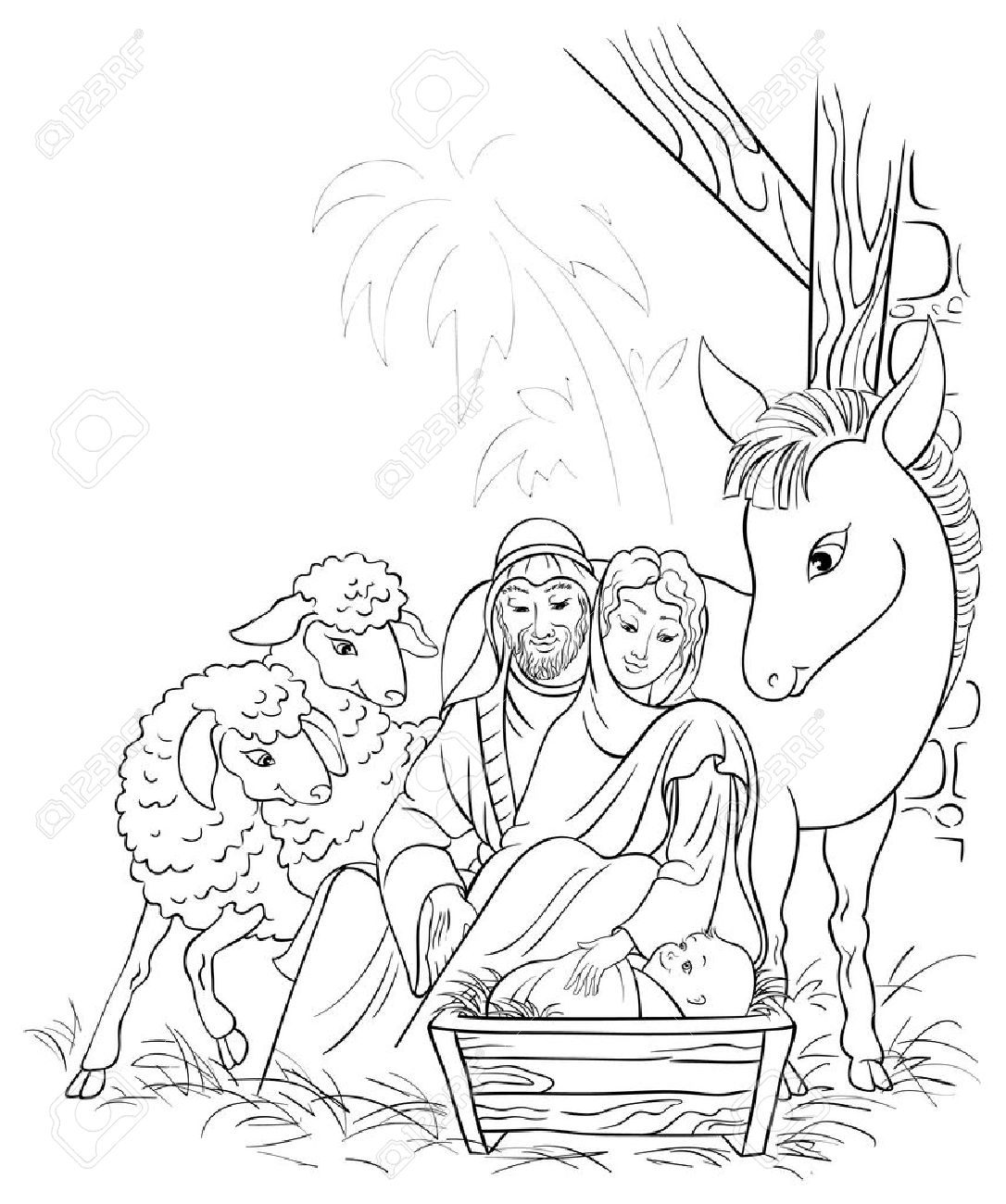 Black and white illustration of Christmas nativity scene with Holy Family Stock Vector