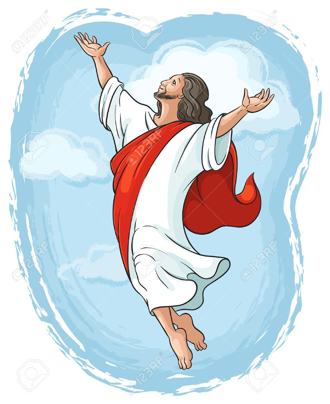 Ascension of Jesus raising hands in sky, Easter theme - 26436959