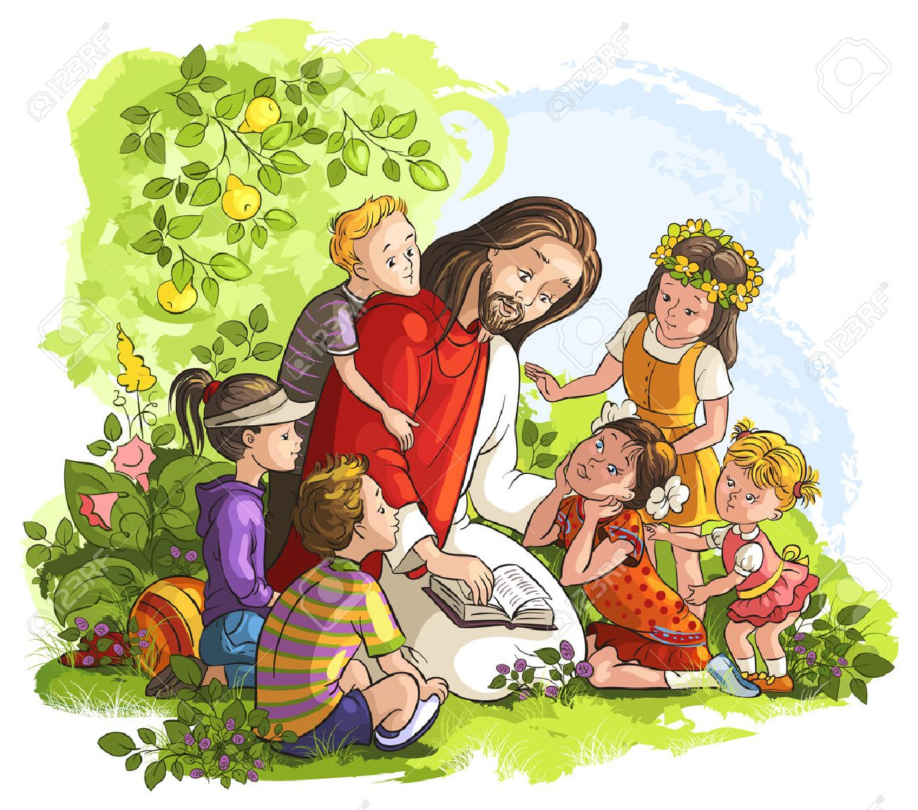 Vector illustration for Jesus reading the Bible with Children - 27529459