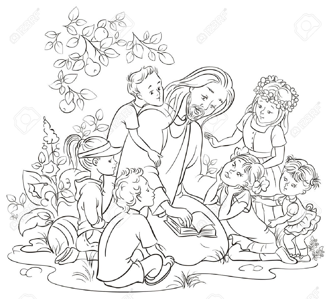 jesus reading the bible with children colouring page royalty free