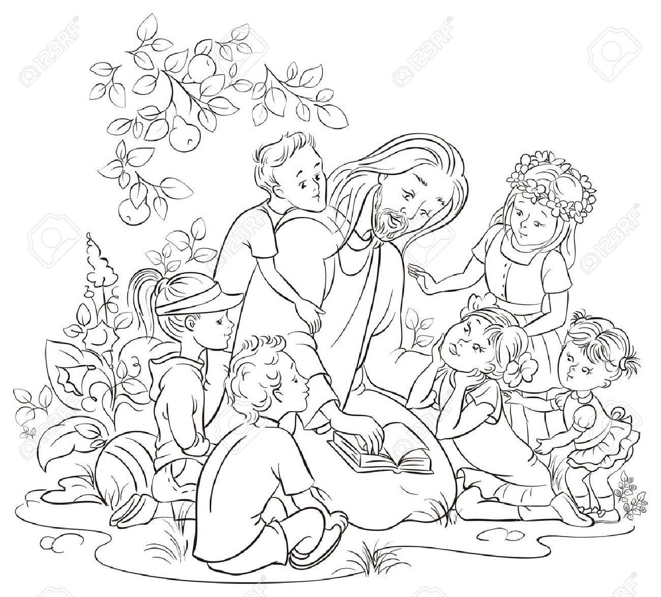 Jesús Leyendo La Biblia Con Los Niños Colorear Página Ilustraciones ...