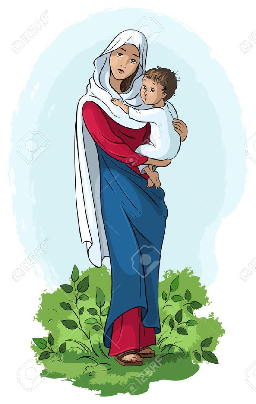 Virgen María Con El Niño Jesús Ilustraciones Vectoriales Clip Art