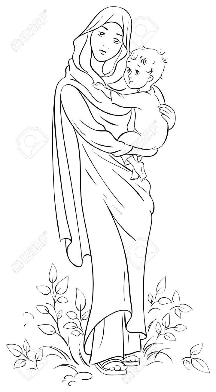Virgin Mary holding baby Jesus - 32061079