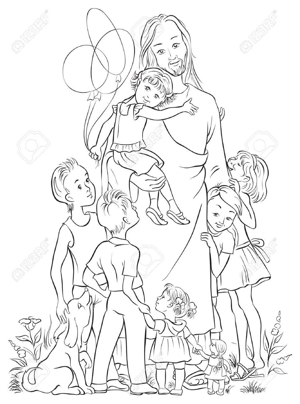 Jesus with children outlined - 33302762