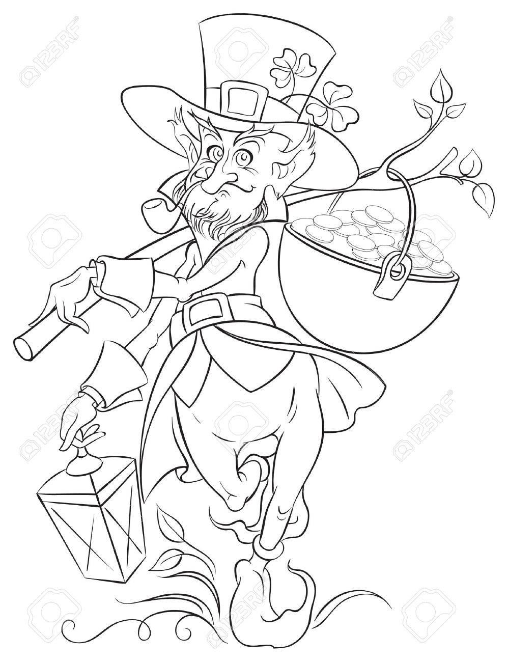 Leprechaun Con El Crisol De La Moneda De Oro Del Día De San Patricio ...