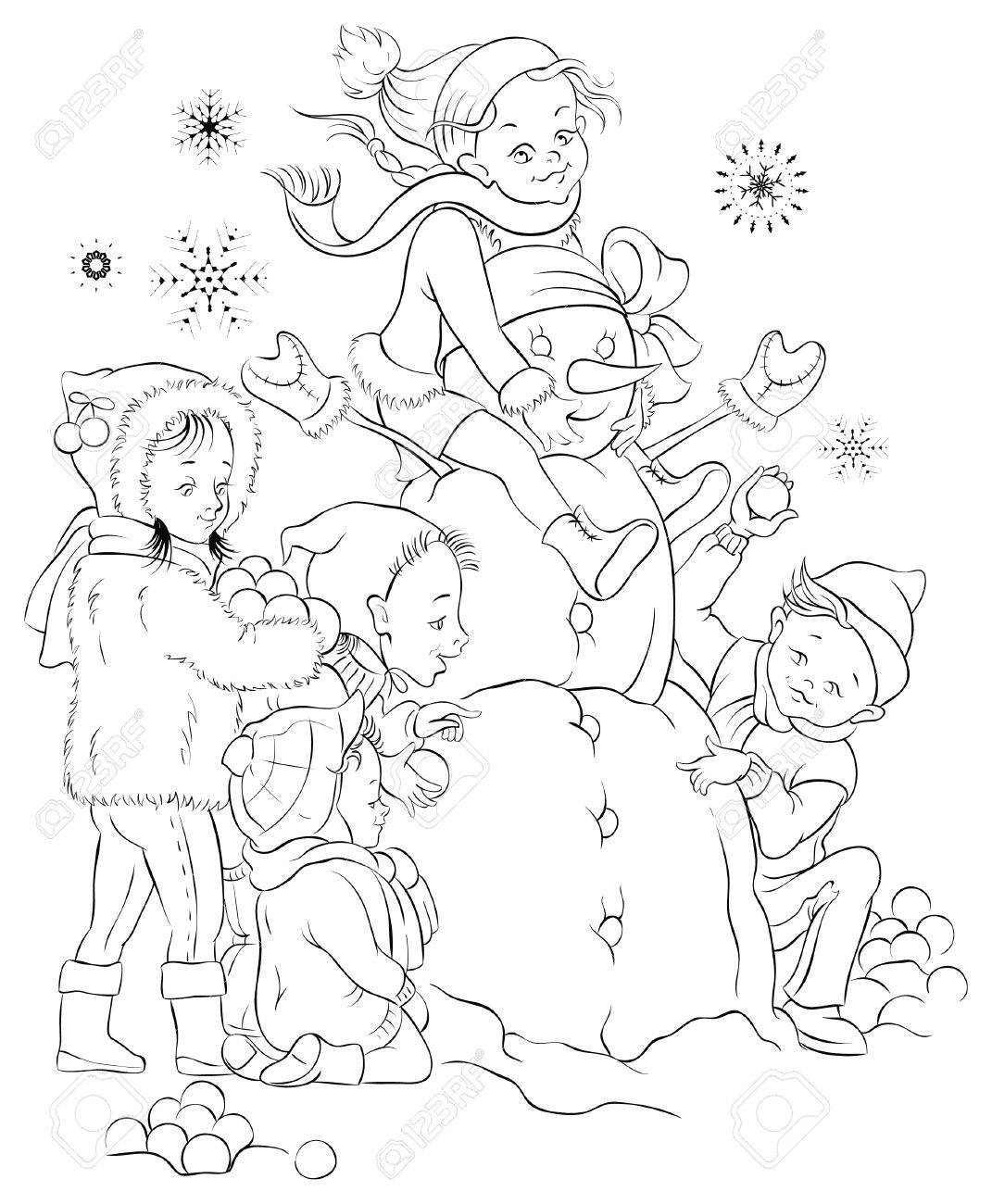 winter games children and snowman colouring page royalty free