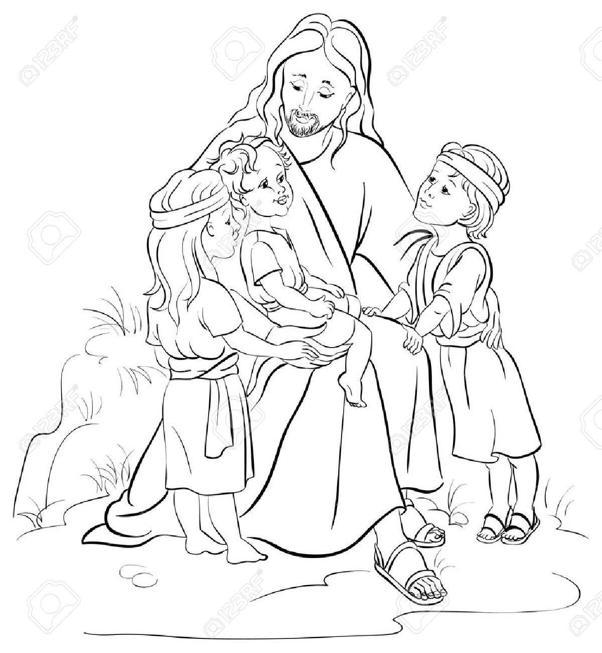 jesus and children royalty free cliparts vectors and stock