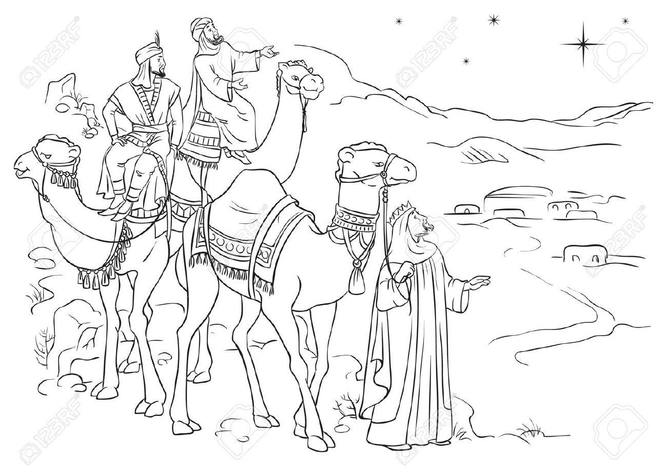Three wise men following the star of Bethlehem outlined - 33886524