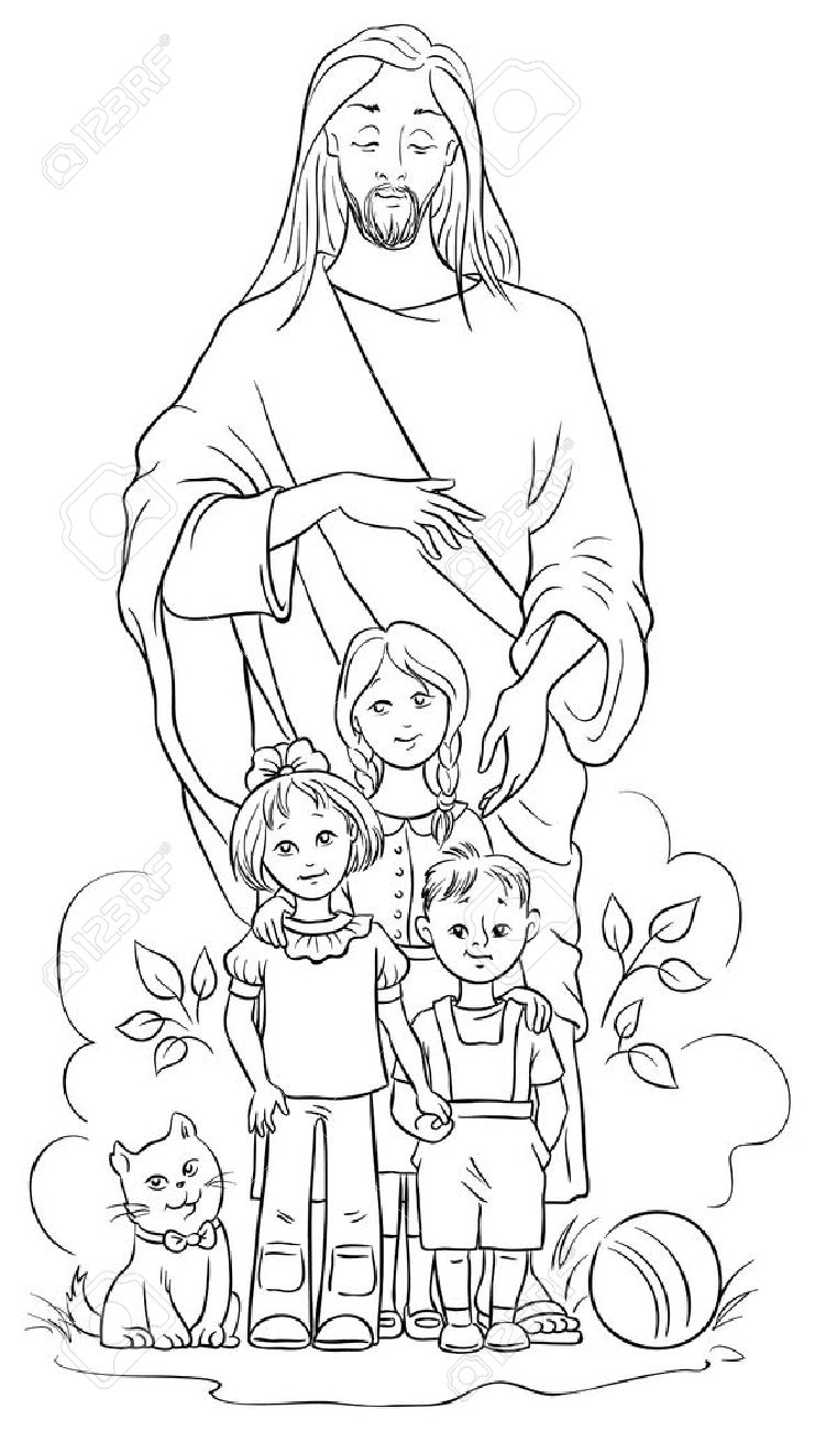 Jesus with children. Colouring page - 35796573