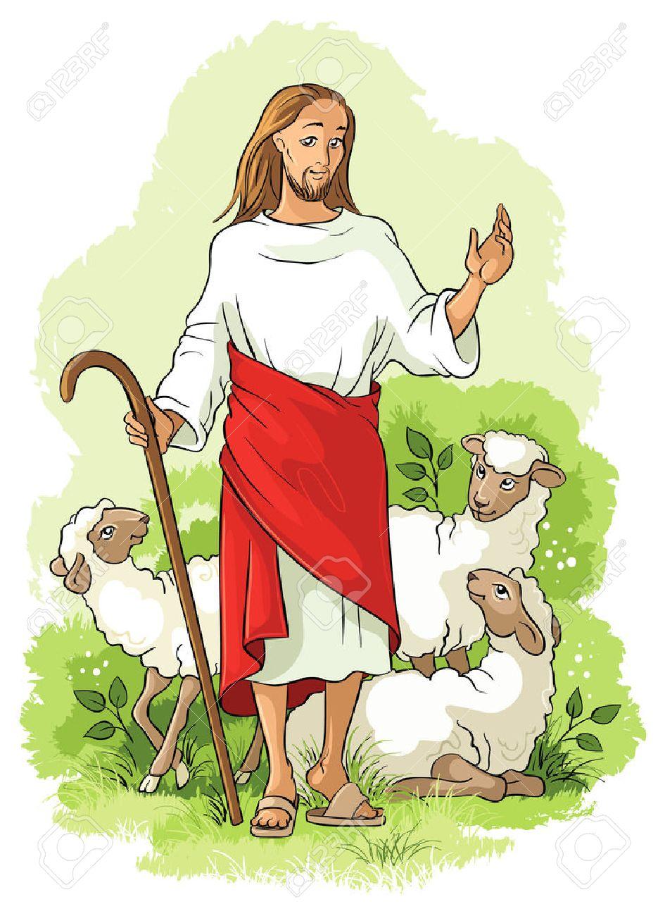 Jesus is a good shepherd. Christian illustration - 36202409