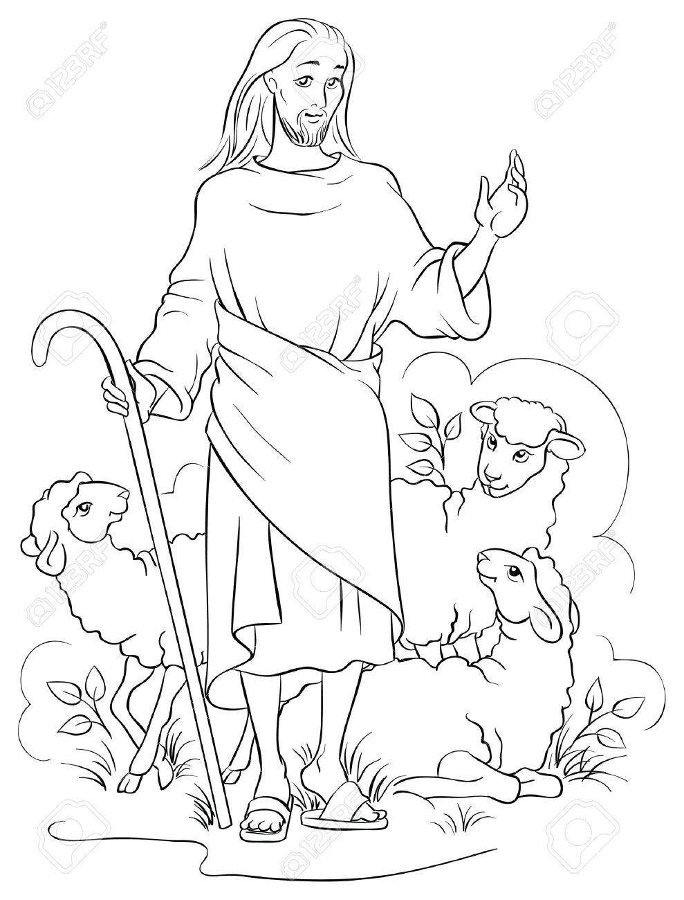 Jesus Is A Good Shepherd Colouring Page Stock Vector