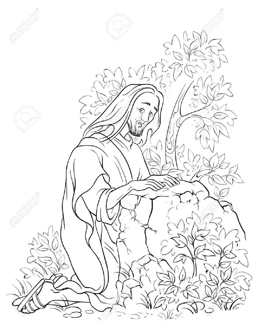 Agonía En El Jardín. Jesús En Getsemaní Escena. Dibujo Para Colorear ...