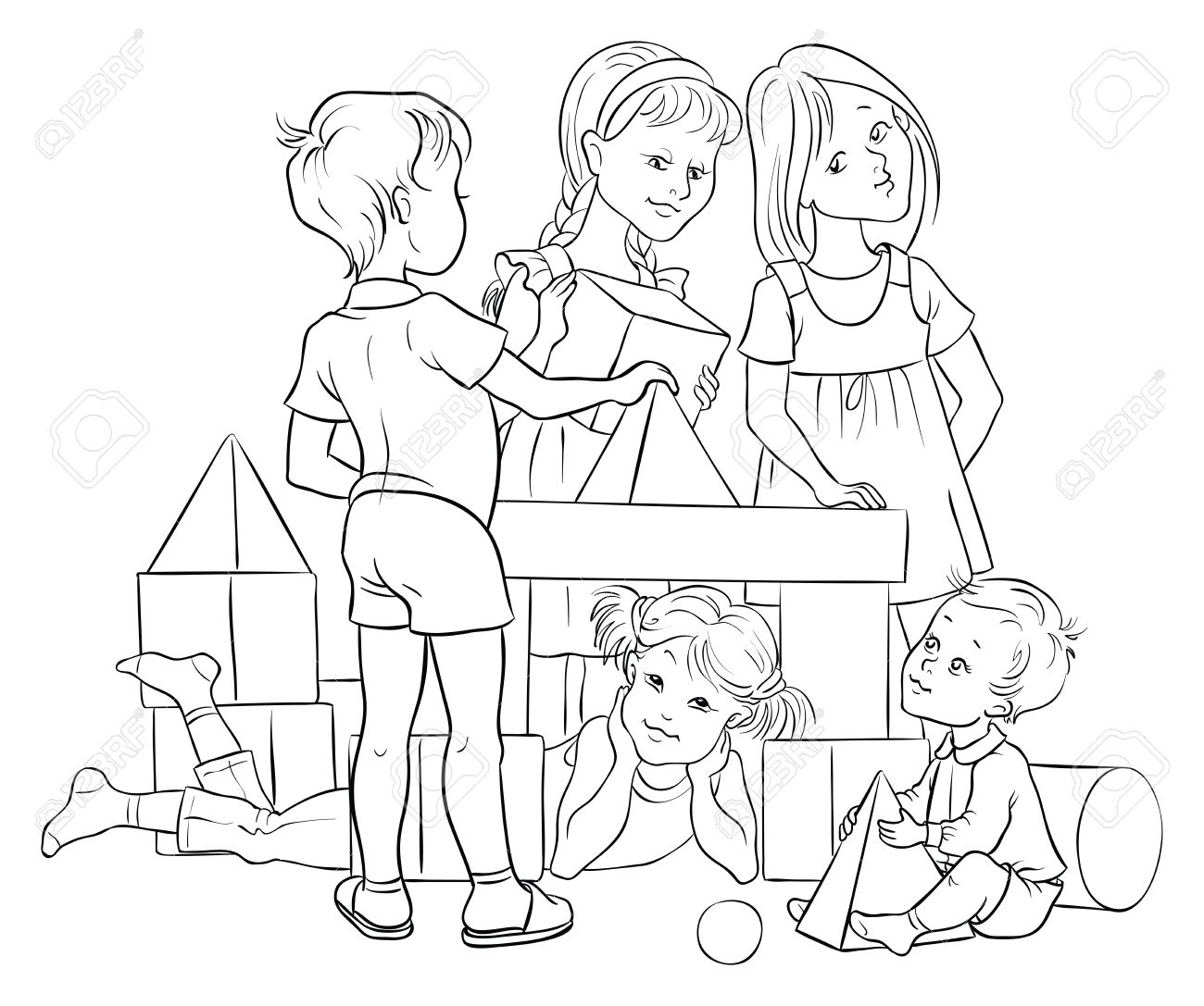 Children Playing With Building Colorful Blocks. Colouring Page ...