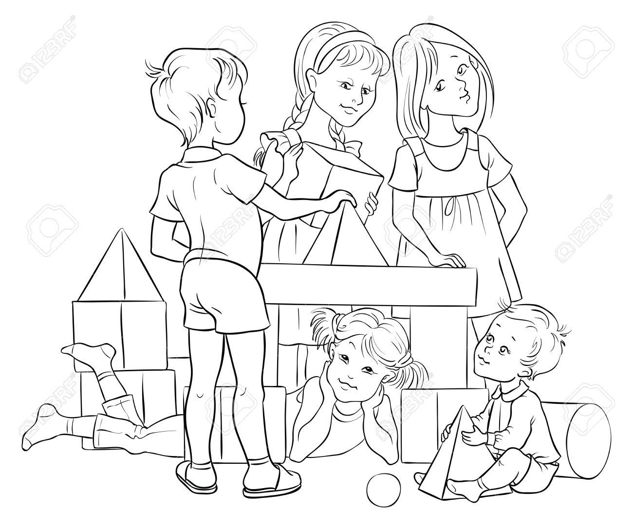 Kinder Spielen Mit Bunten Blöcke Gebäude. Colouring Seite Lizenzfrei ...