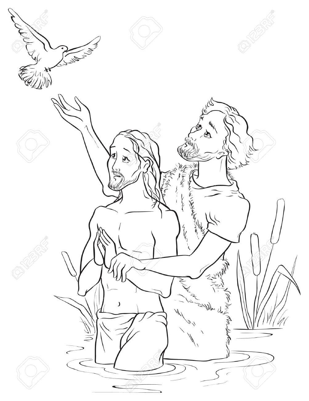 Baptism Of Jesus Christ Colouring Page Stock Vector