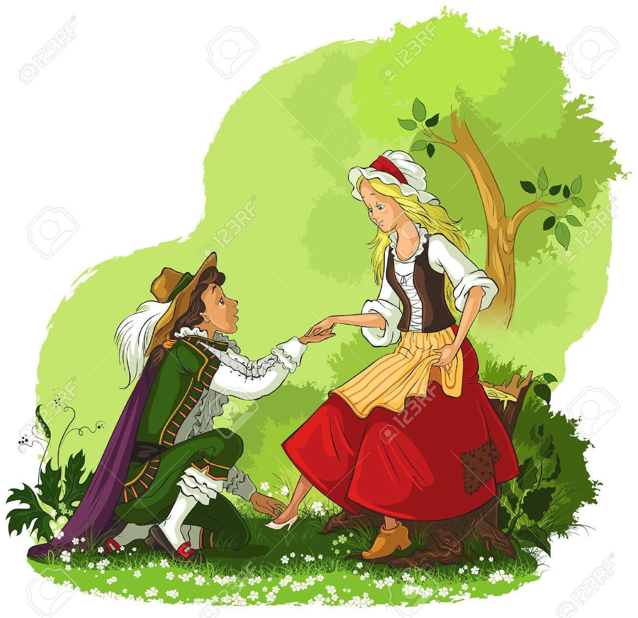 王子様はシンデレラにガラスの靴を入れてのイラスト素材ベクタ Image