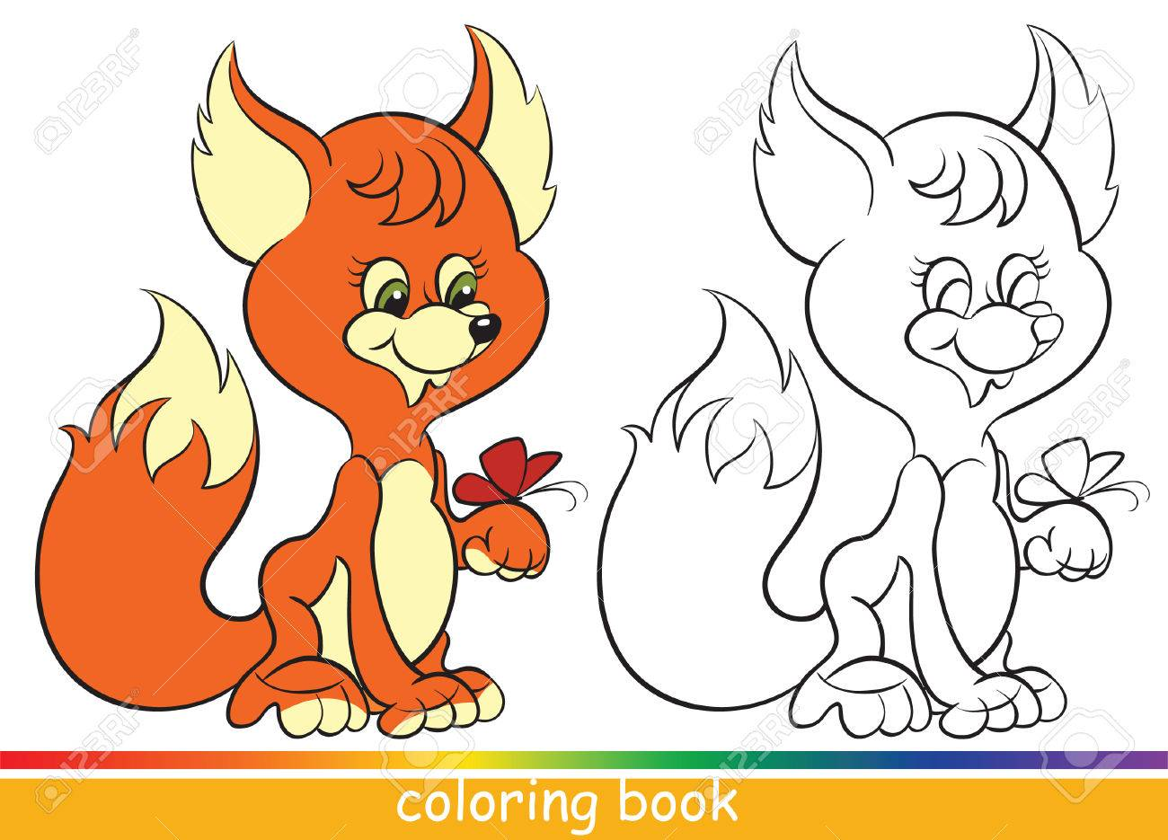 Cute Young Fox. Coloring Book Or Coloring Page For Children Royalty ...