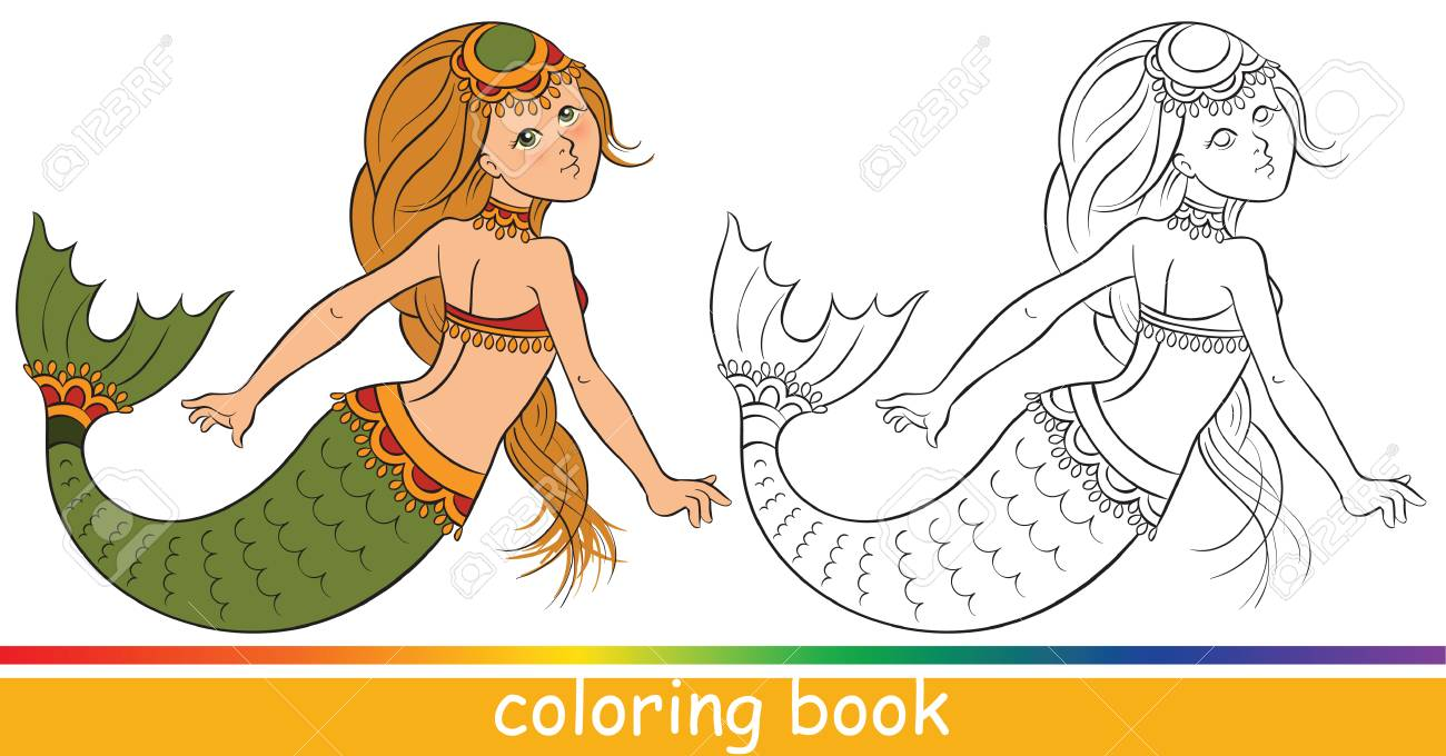 Cute Young Mermaid. Coloring Book Or Coloring Page For Children ...