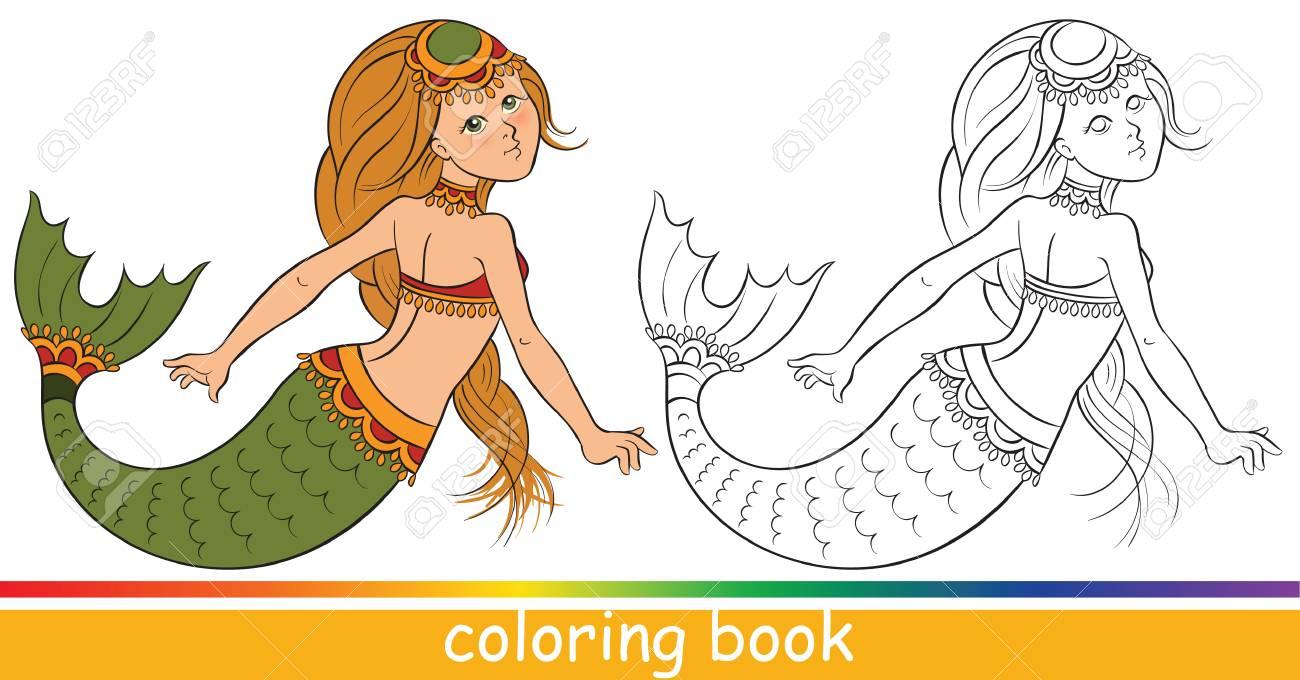Sirena Joven Linda. Libro Para Colorear O Dibujo Para Colorear Para ...