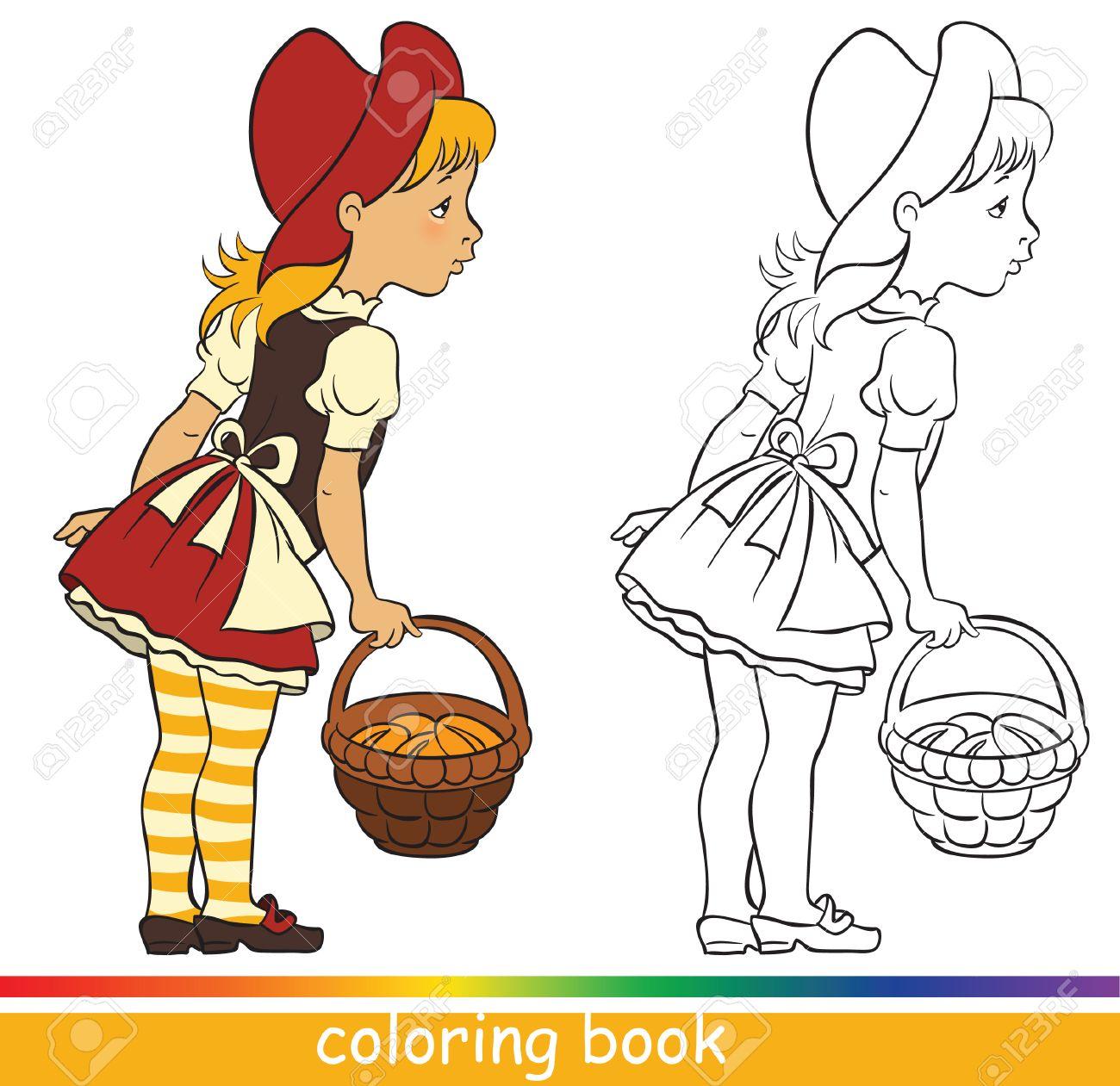 Caperucita Roja Personajes De Cuento Libro Para Colorear O Dibujo Para Colorear Para Niños