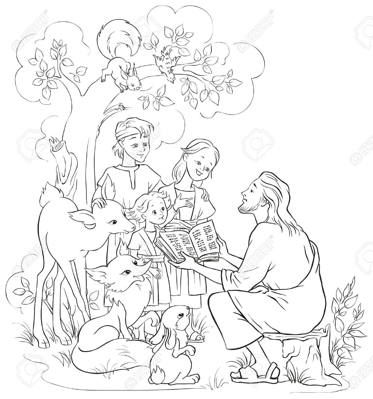 Jesús Con Los Niños Y Animales Dibujo Para Colorear Ilustraciones