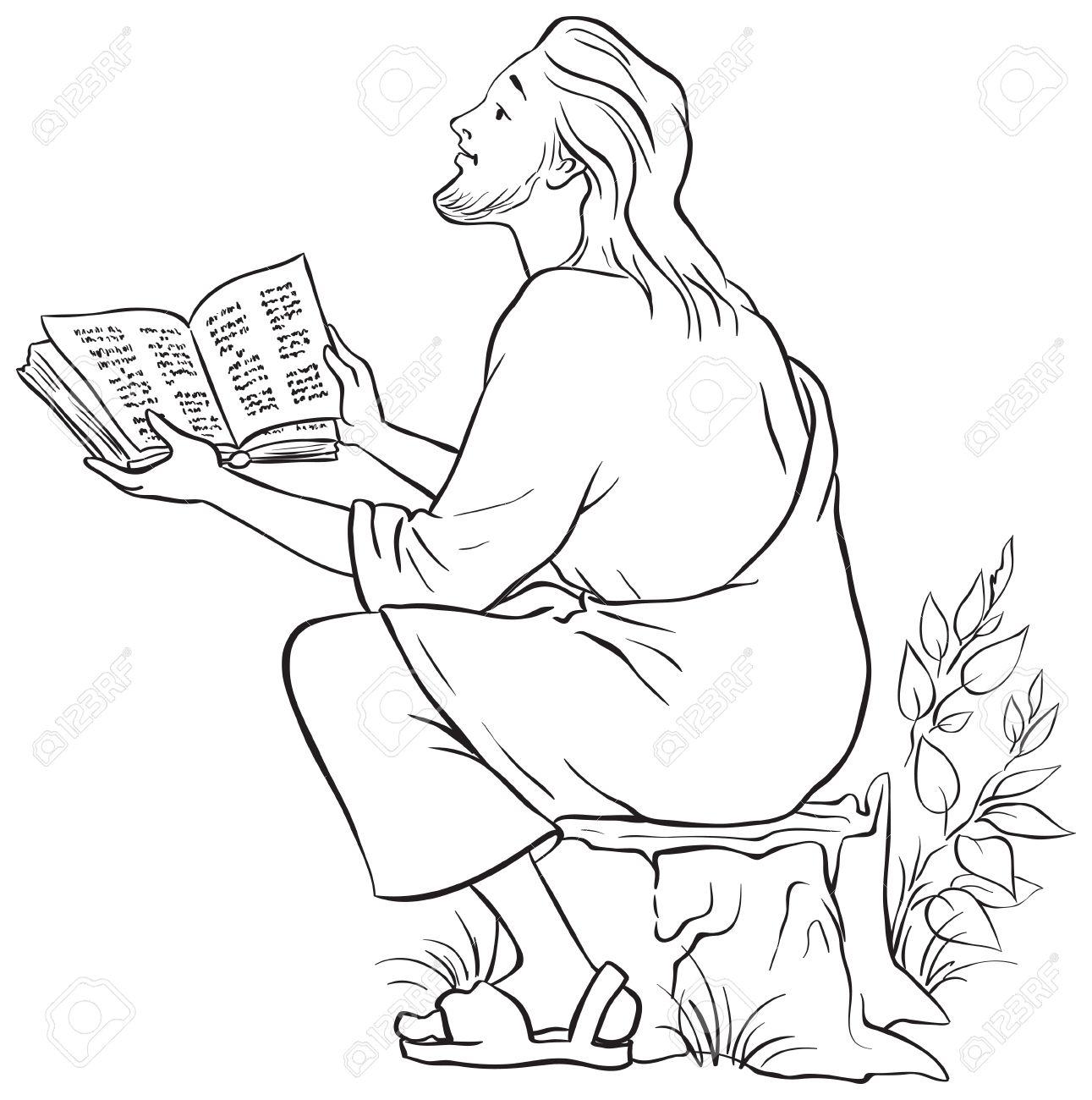Jesus Die Bibel Zu Lesen. Malvorlage. Auch Erhältlich Farbige ...