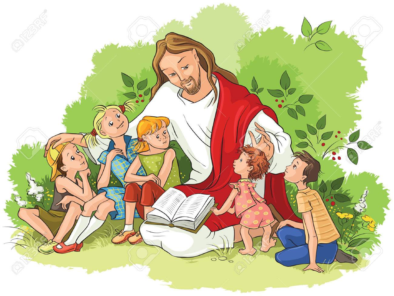Jesus reading the Bible to children - 80017004