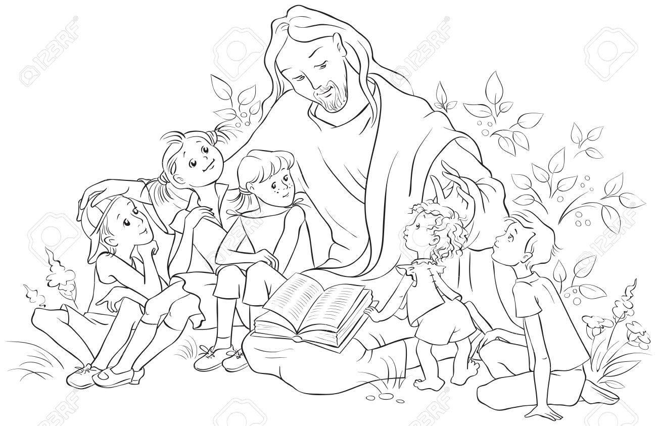 Jesús Leyendo La Biblia A Los Niños Dibujo Para Colorear