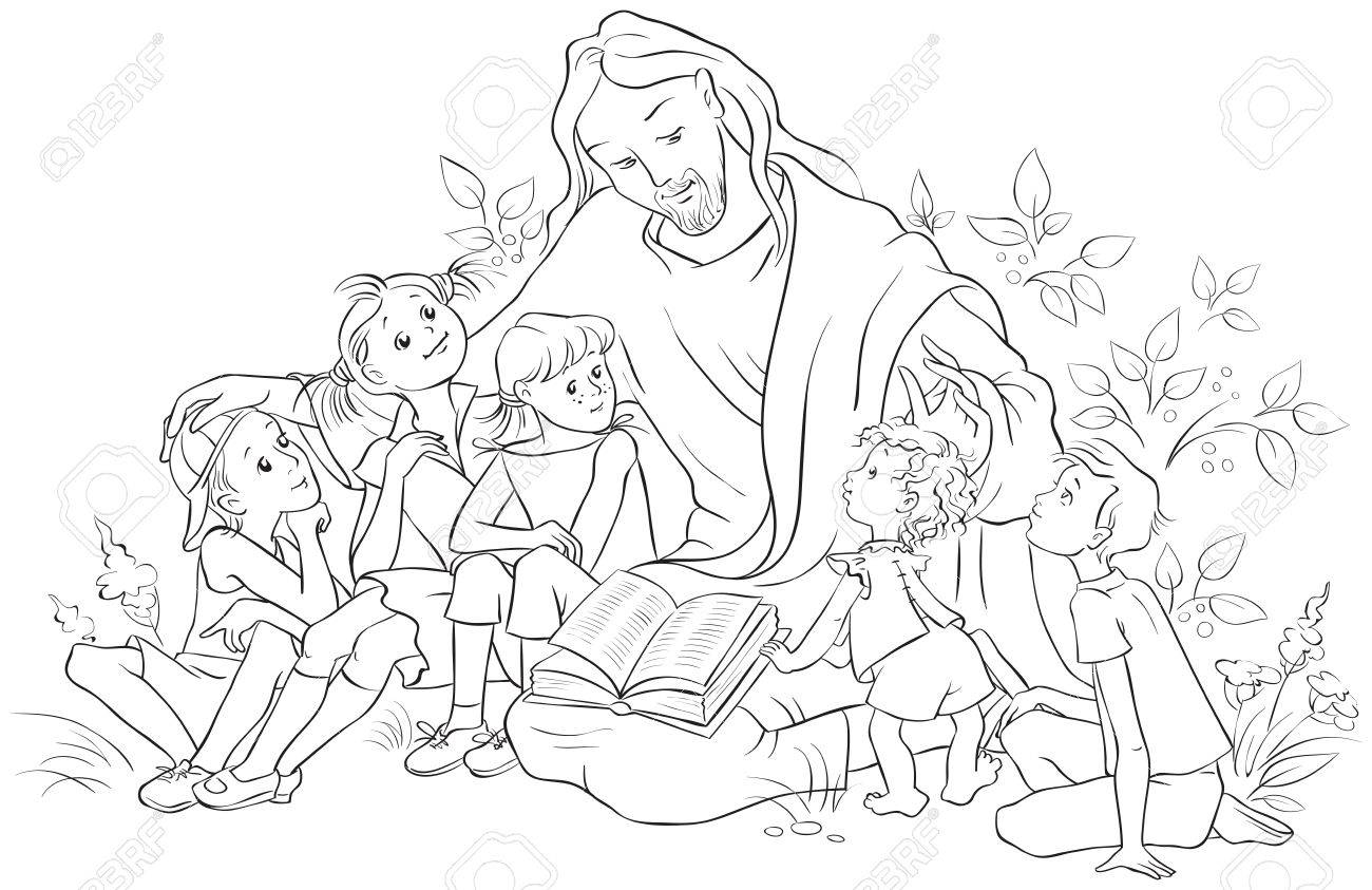 Jesus Reading The Bible To Children. Coloring Page Royalty Free ...