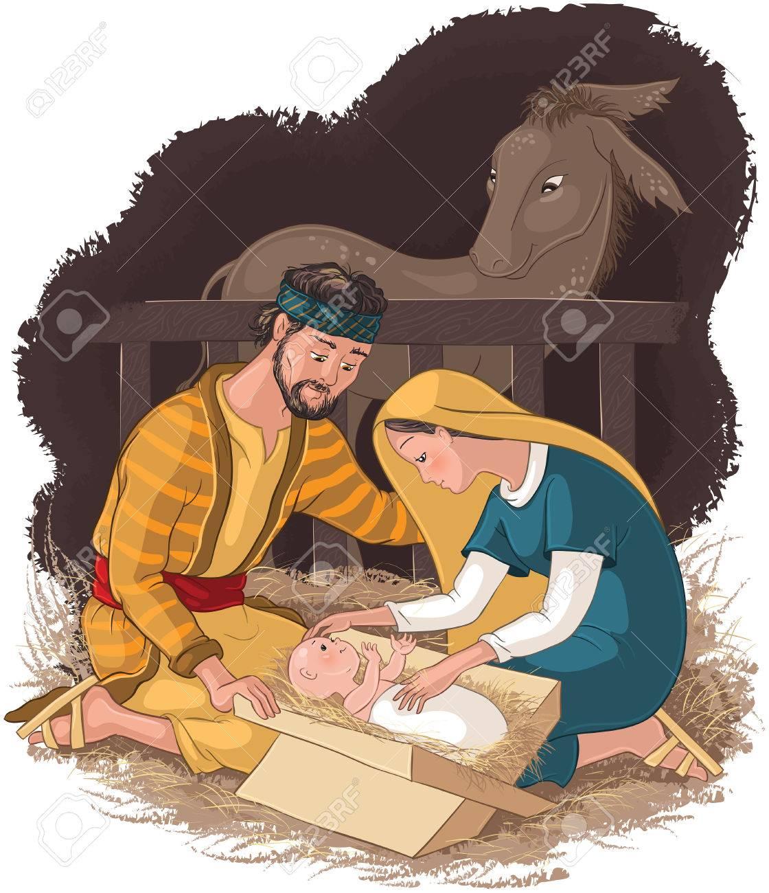 Nacimiento Con La Sagrada Familia. Jesús, María Y José Ilustraciones ...