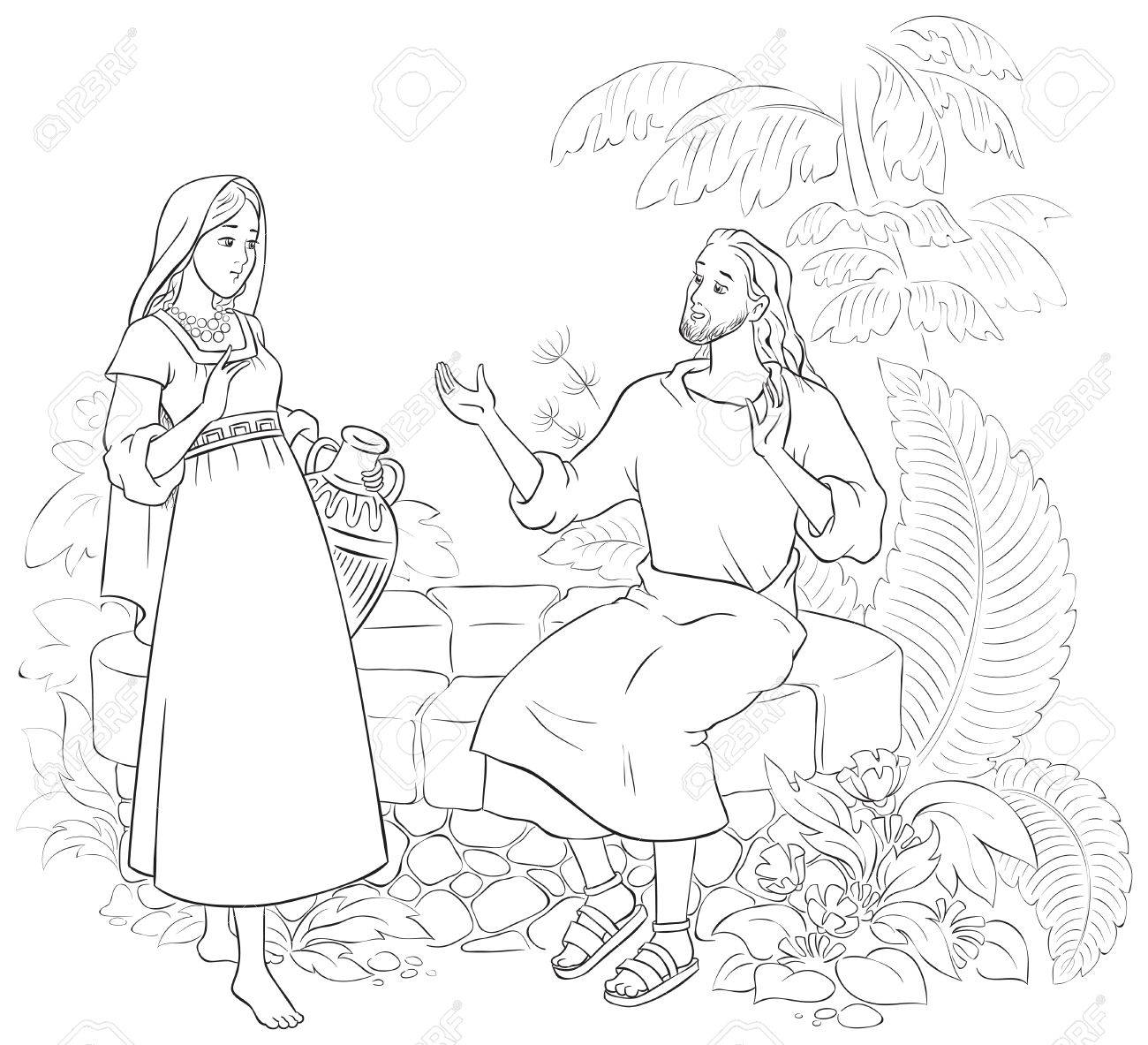 Jesus And The Samaritan Woman At The Well Coloring Page Royalty Free ...