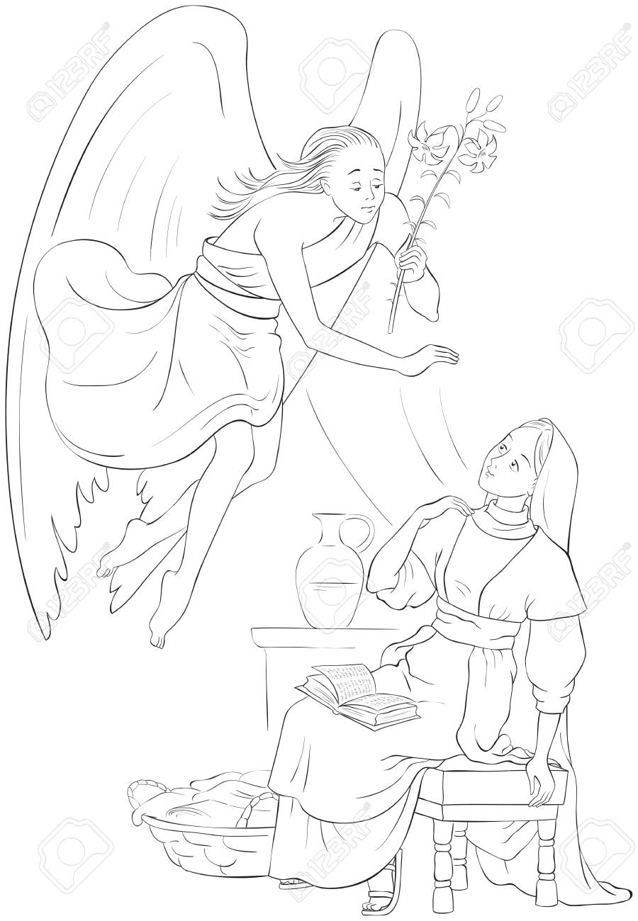 Annunciation Coloring Page Angel Gabriel Announcement To Mary Royalty Free Cliparts Vectors And Stock Illustration Image 108470782