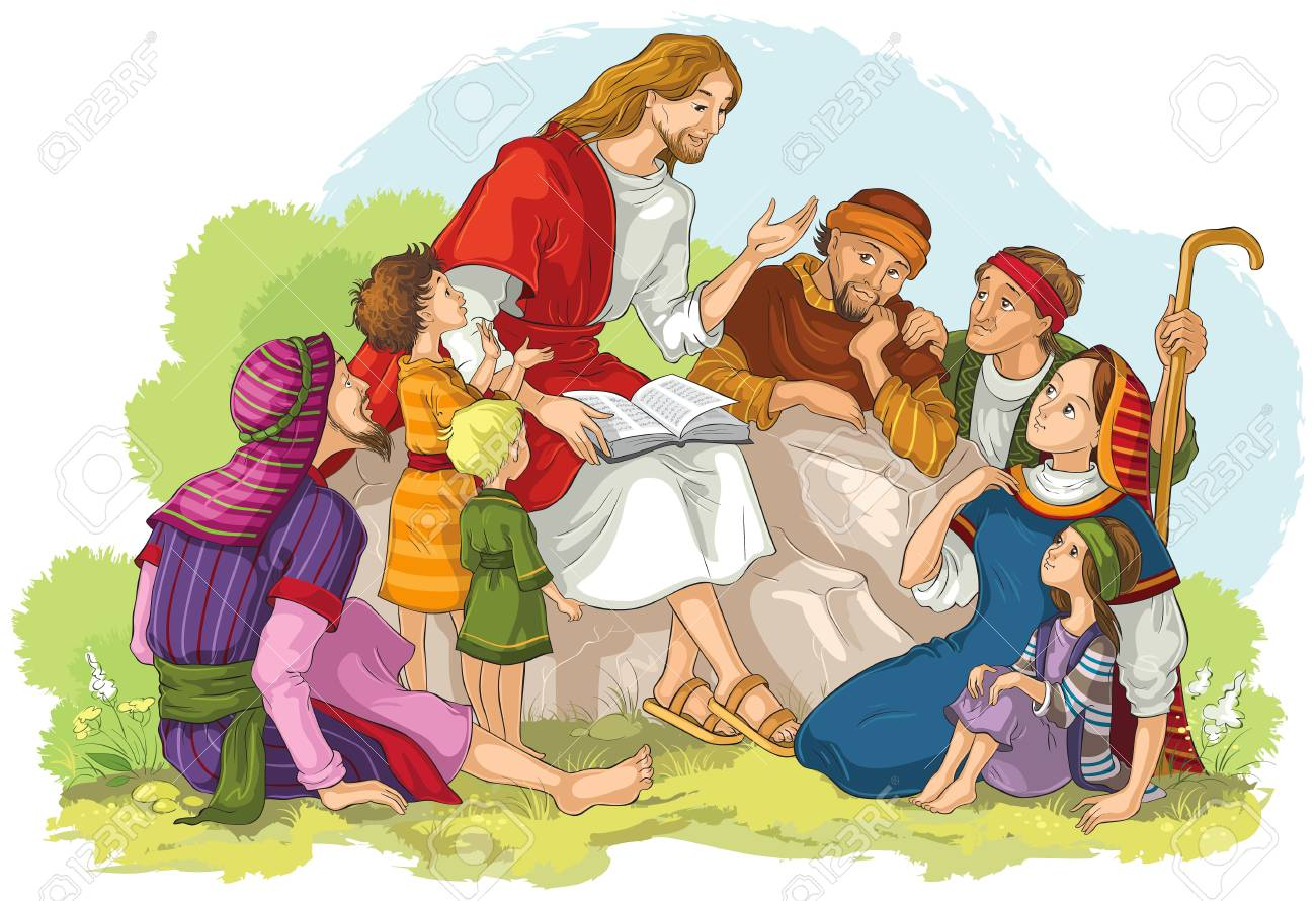 Jesus preaching to a group of people. Vector cartoon christian illustration - 108470783