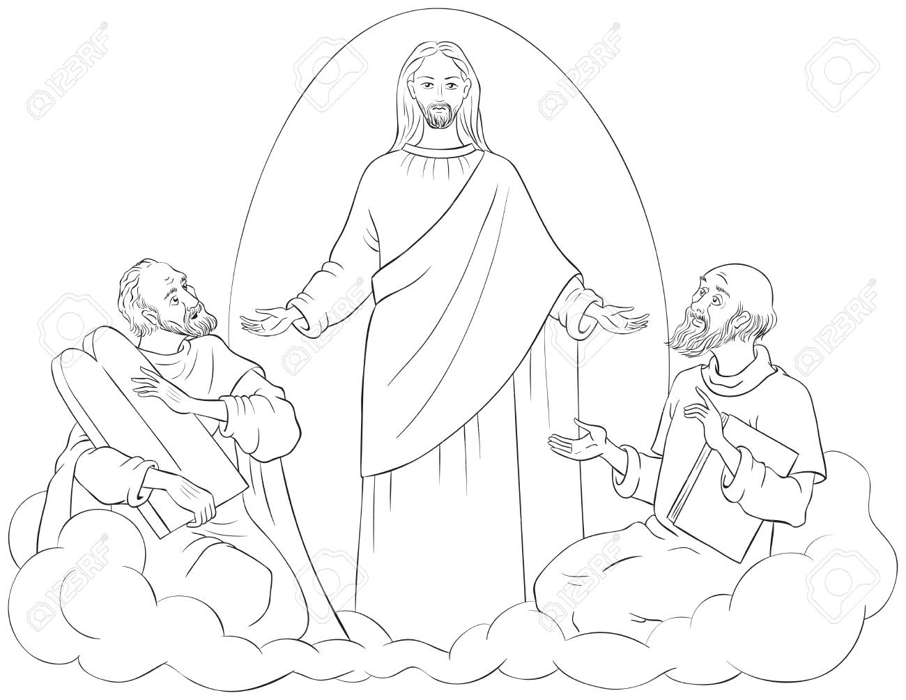The Transfiguration of Jesus Christ with Elijah and Moses Coloring..