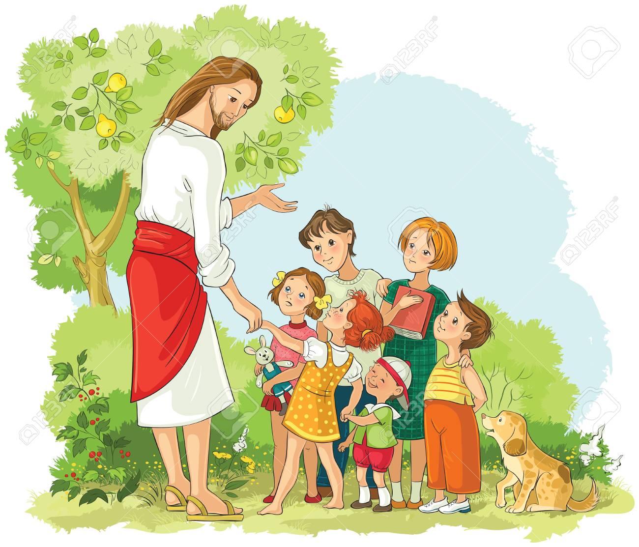Jesus With Children. Vector cartoon christian illustration - 108470787
