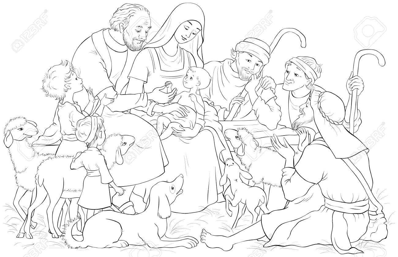 Mary, Joseph and Baby Jesus coloring page | Free Printable ... | 842x1300