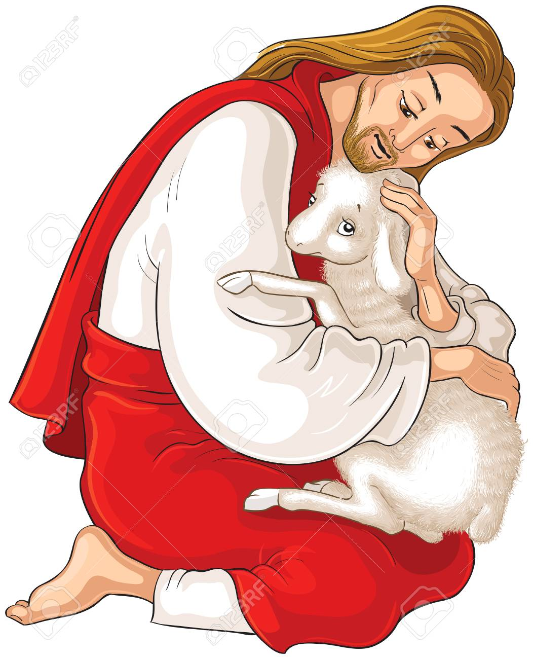 History of Jesus Christ. The Parable of the Lost Sheep. The Good Shepherd Rescuing a Lamb Caught in Thorns isolated on white - 117426792