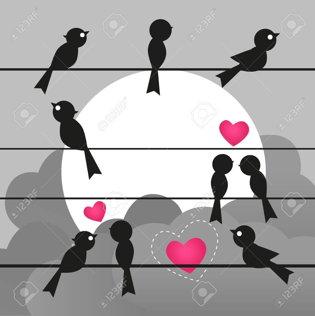Birds Is Sitting On A Wire Royalty Free Cliparts, Vectors, And Stock ...