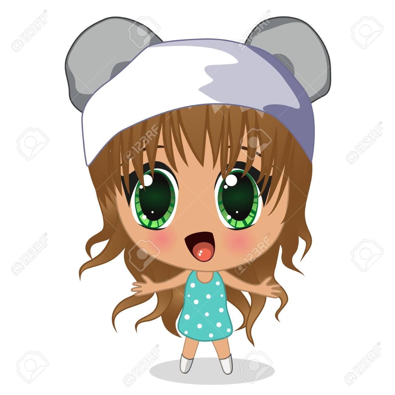 Banque dimages cute girl anime isolé sur un fond blanc