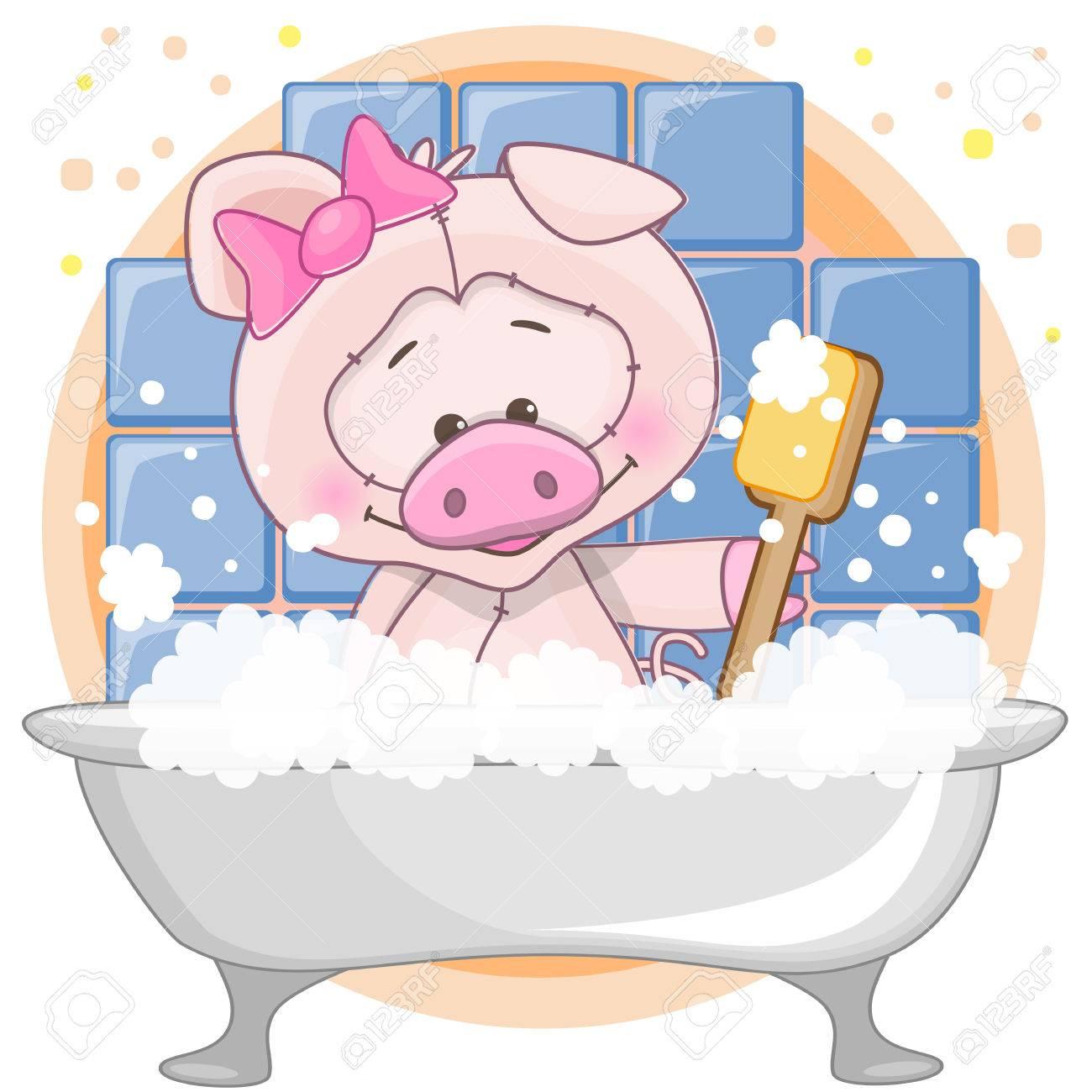 Cute Cartoon Pig In The Bathroom Stock Vector