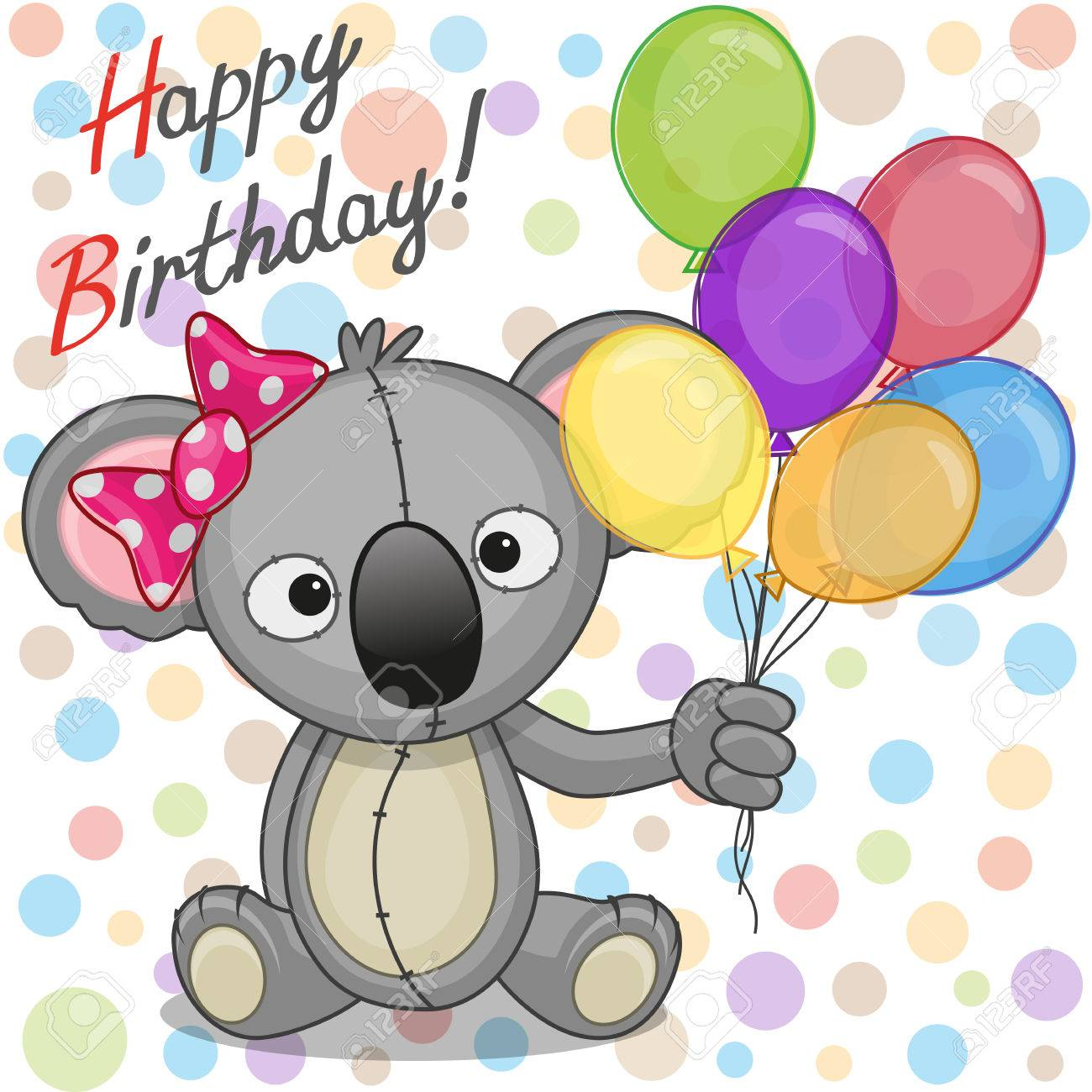 Greeting card koala with balloons royalty free cliparts vectors greeting card koala with balloons stock vector 30259300 m4hsunfo